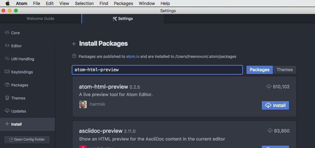 install-atom-html-preview